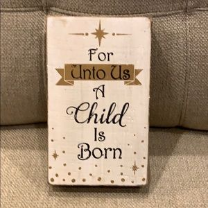 For Unto Us A Child Is Born Painted Wood Box Sign